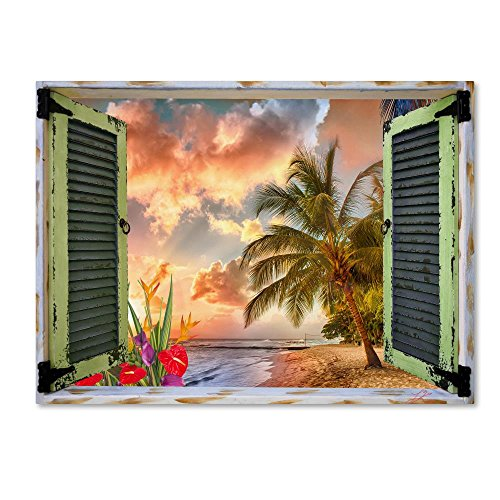 Tropical Window to Paradise IV by Leo Kelly, 35x47-Inch Canvas Wall Art