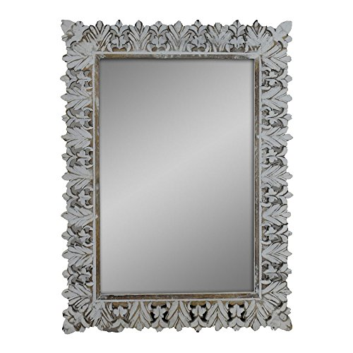Indian Heritage - Wooden Mirror Mango Wood Carved Profile Design Mirror Frame in White Distress (Carved Wood Frame Mirror)