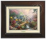 Thomas Kinkade Disney Mickey and Minnie Sweetheart Bridge 9'' x 12'' Canvas Classic (Espresso)