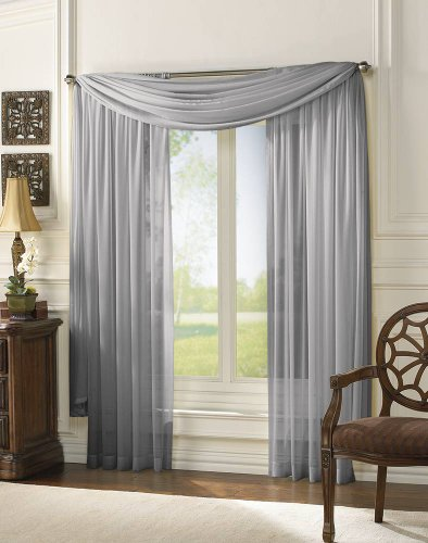 MONAGIFTS 2 PANELS GRAY / SILVER Sheer Voile Window Panel curtains 59″ WIDTH X 84″ LENGTH EACH PANEL