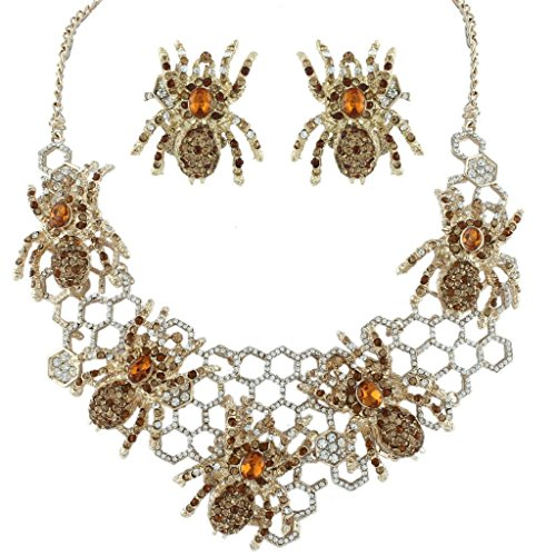 EVER FAITH Halloween Spider Web Brown Austrian Crystal Necklace Earrings Set (Spiderweb Rhinestone Necklace)