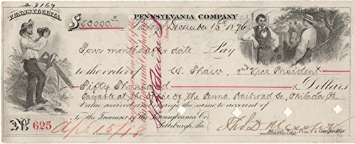 Pennsylvania Company December 15, 1876 Canceled Check to W. Thaw (William Thaw), 2nd Vice President in the Amount of - In Stores Pittsburgh Mills