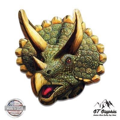 "GT Graphics Triceratops Dinosaur Colorful - 3"" Vinyl Sticker - for Car Laptop I-Pad Phone Helmet Hard Hat - Waterproof Decal"