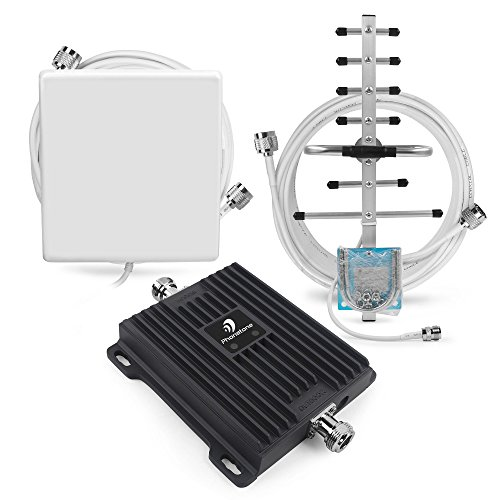 Phonetone Cell Phone Signal Booster for Home and Office Use - Dual Band 850/1900Mhz GSM 3G Repeater Antennas - Boost Voice and Data