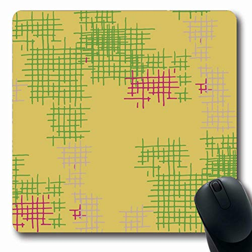 (LifeCO Computer Mousepad Reticle Check Mesh Abstract Pattern Green Kilt Color Cross Crossing Drawn Geometric Design Oblong Shape 7.9 x 9.5 Inches Oblong Gaming Non-Slip Rubber Mouse Pad Mat)