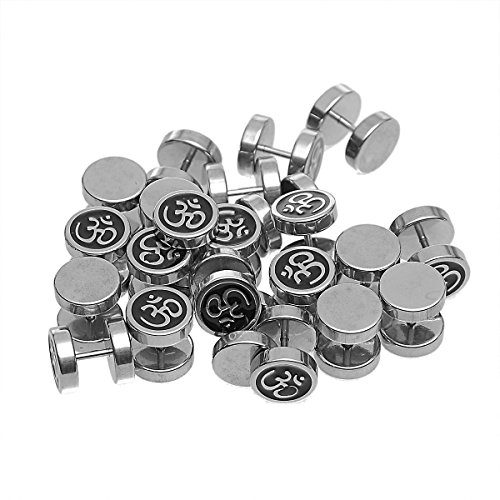 HOUSWEETY 316L Stainless Steel Round Om/Aum Sign Screw Back Barbell Stud Earrings 10mm-1pair by Housweety (Image #1)