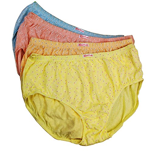 Sujisi Women's 100% Core Cotton Classic Brief Panty 4 Pack Plus Size Hi-Cut Panties,Fit US 3XL-4XL,10-11