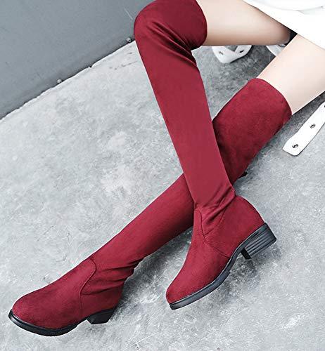 Mode dessu Aisun Rouge Femme Genou Au Longue Tige Chaude Du Botte 5xX7rqXw