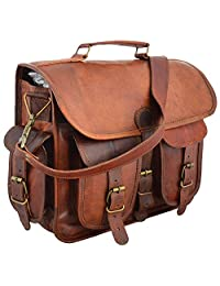 "Handmadecraft 16"" Leather messenger bag laptop bag computer case shoulder bag for men & women"
