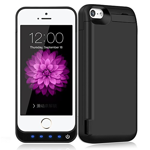 Battery Case for iPhone 5/ 5S/ 5C / 5 SE, Taeozi 4800mAh Rechargeable Portable Power Charging Case for iPhone 5 5S SE 5C Extended Battery Pack Charger Case -Black