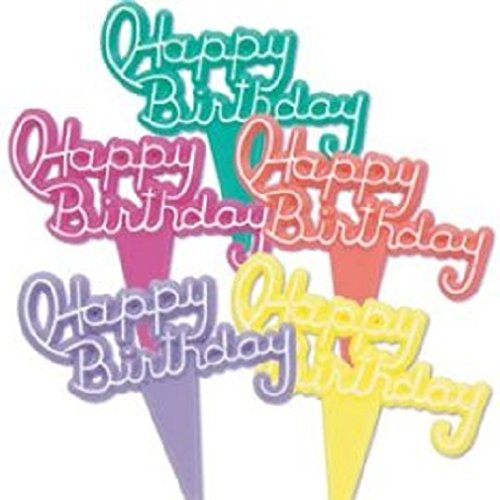 Oasis Supply 12 Count Vintage Happy Birthday Signs Pick Decorative Cake Topper, Neon 008050