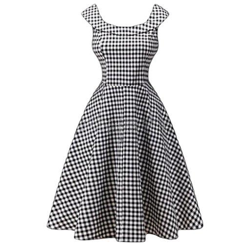 Women Ball Gown Vintage Dress Plaid Print Dress Sleeveless A Line Dress Plaid 2XL