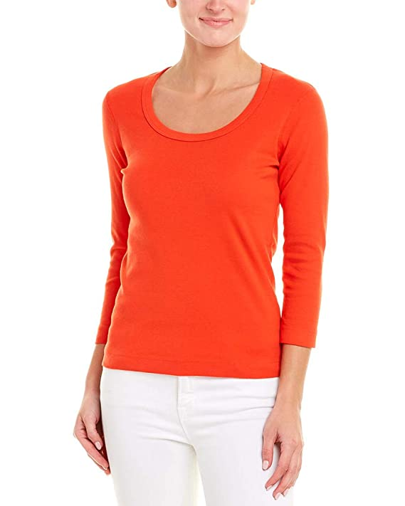 Three Dots Womens Scoop Neck Top, Xs, Red by Three Dots