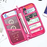 JHion Multi-Function Travel Certificate Wallet Passport Holder &Documents Organizer Zipper Case Rose
