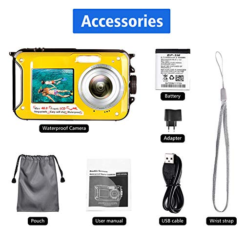 Waterproof Camera Underwater Camera Full HD 2.7K 48 MP Camera Selfie Dual Screens Point and Shoot Camera Selfie Dual Screen Waterproof Camera for Snorkeling (806DY)