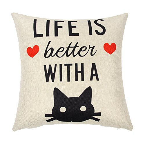 Ogiselestyle Life is Better with A Cat Quote Cotton Linen Home Decorative Throw Pillow Case Cushion Cover for Sofa Couch, 18