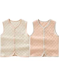 ThreeH Baby Organic Cotton Warm Vest Unisex Infant Romper Waistcoat BR06(pack of 2)