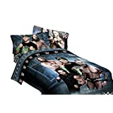 WWE Superstars Twin Sized 4 Piece Bedding Set - Reversible Comforter & Sheet Set