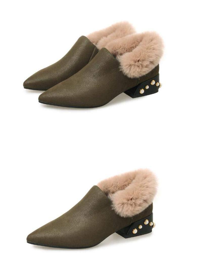 XQY Schuhe Für Frauen Fallen Winter Spitze Dicke Niedrige Ferse Schuhe Mode Sowie Warme Damenschuhe Samt Für Hochzeit Im Freien Etc