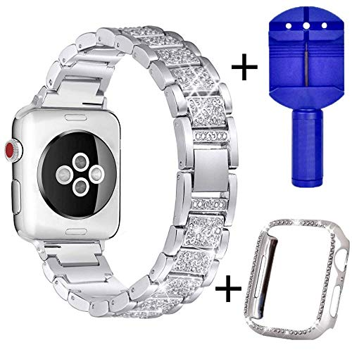 Bling Bands Compatible with Apple Watch 38mm 40mm 42mm 44mm Band, Metal Rhinestone Bling Replacement Wristband iWatch Strap + Case for Apple Watch Watch Series 4/3/2/1 (Silver, 44mm)