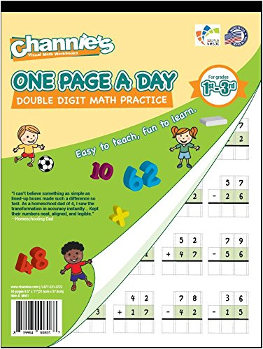 Channie's One Page A Day Double Digit Math Problem Workbook for 1st - 3rd Grade Simply Tear Off On Page a Day For Math Repetition Exercise!