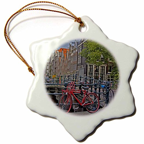 3dRose orn_82348_1 Bicycles at Canal Bridge Amsterdam Netherlands Marilyn Parver Snowflake Ornament, 3-Inch, Porcelain (Bicycle Ornament Holiday)