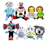Phantomx 8pcs Undertale-Plush-Doll-Stuffed-Toy-Sans-Papyrus-Temmie-Toriel-Asriel-Kid-Gift
