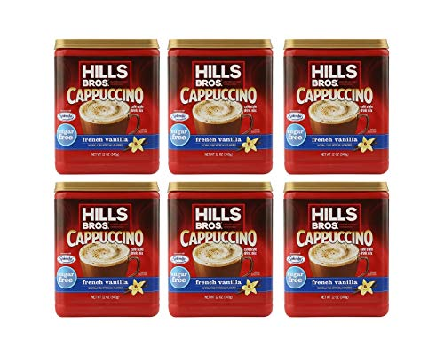 Hills Bros. French Vanilla Cappuccino Instant Coffee Powder Drink Mix â Sugar-Free, 12 Ounce (Sugar-Free French Vanilla Cappuccino, Pack of 6)