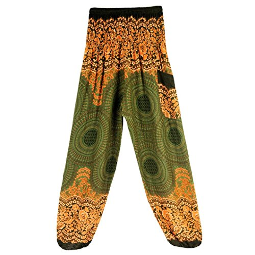 Memela Men Women Thai Harem Trousers Boho Festival Hippy Smock High Waist Yoga Pants (Yellow) ()