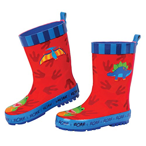 Stephen Joseph Boys' Rain Boots, Dino Red, 9
