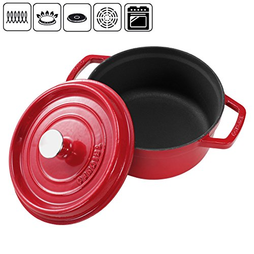 Voilamart Dutch Oven with Dual Handles and Lid - Enameled Anti-rust Cast Iron Casserole,4.5 Quart,Red