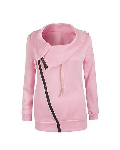Mujeres Abrigo de Manga Larga con Capucha Coat Jacket Chaqueta Pink S