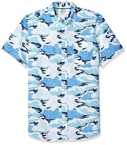 Goodthreads Men's Standard-Fit Short-Sleeve Printed Poplin Shirt, Wave, Large
