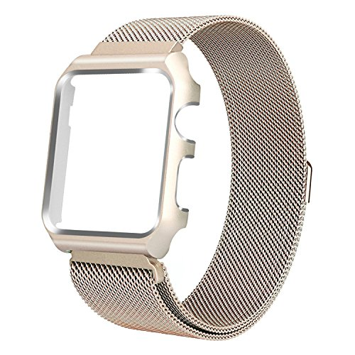 (HUASIRU Apple Watch Band 38mm, Stainless Steel Milanese Loop Replacement Band with Metal Case Cover for Apple Watch Series 3, Series 2, Series 1 (Champagne Gold))