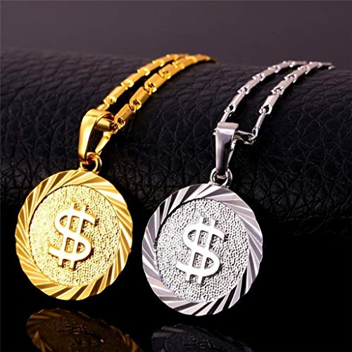 Naomi Coin Necklace Men/Women Fashion Jewelry Yellow Silver/Gold Color Round Medal Money Sign US Dollar Necklaces & Pendants Silver one Size