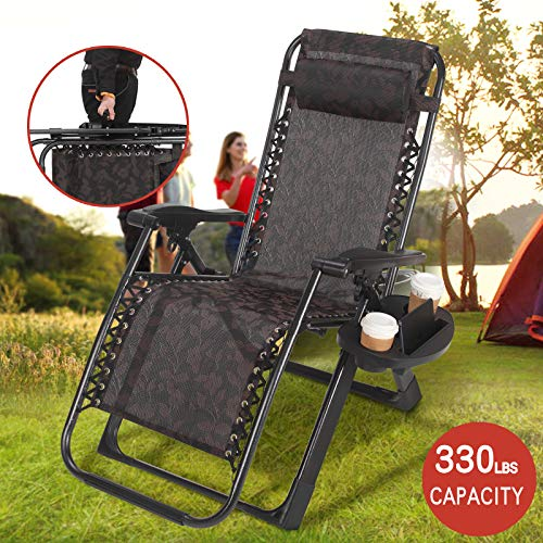 (Artist Hand Zero Gravity Chair Recliner Seats Black Flowered Durable Textilene Fabric Backrest with Cup Holder Black Folding Lounge Chair Handle to Carry for Travel Yard Beach Pool)