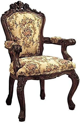 Design Toscano Carved Rocaille Chair, 41 Inch, Set of 2, cherry