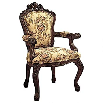 Design Toscano AF307 Rocaille Carved Victorian Armchair, 41 Inch, Cherry