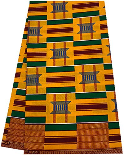 African Print Fabric Tribal African Wax Print Kente Print 6 Yards 100% Cotton African Printed Dresses and Head tie for Men & Women