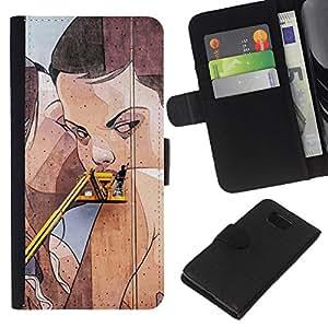 KLONGSHOP // Tirón de la caja Cartera de cuero con ranuras para tarjetas - Street Art Drawing Pared mujer lesbiana - Samsung ALPHA G850 //