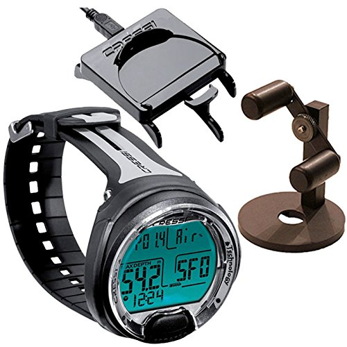 Cressi Leonardo Wrist Dive Computer Air | Nitrox w/ Download Cable | Watch Stand, Black/Gray