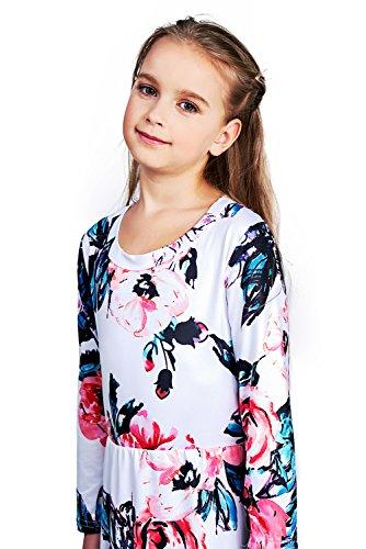 Maxi Flared Floral Pocket Holiday Sleeves Quarter Floral CVERRE White Girl Dress Long PRqaqI
