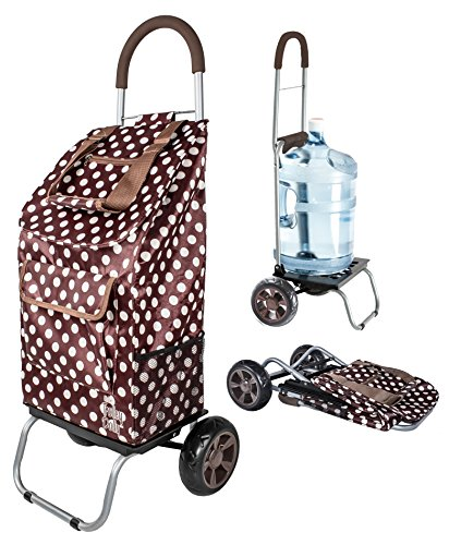 dbest products Carrito de la Compra Dolly para la Compra, marrón, (Brown Polka Dot), 1, 1
