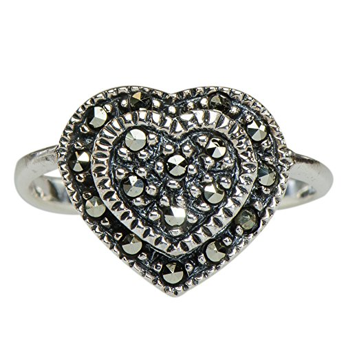 Vintage Marcasite Simple Love Heart Ring 925 Silver