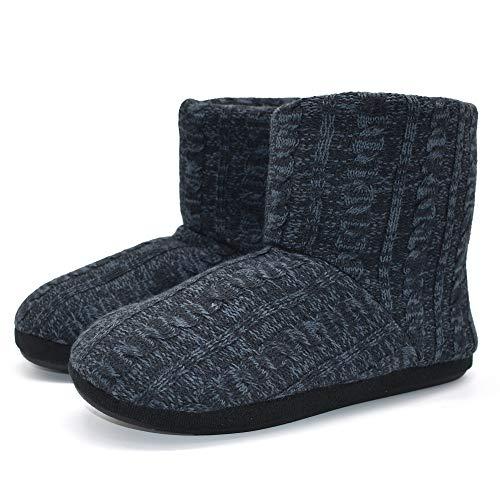 Mens Woolen Knit Slipper Boots Furry Plush Foam Velvet Slip on Ankle Booties Indoor House Bedroom Shoes ()