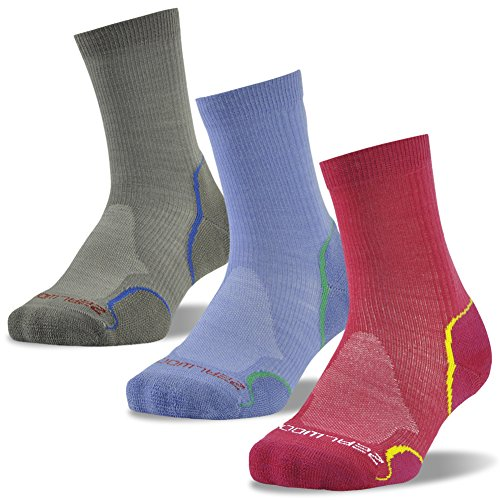 Merino Wool Socks, ZEALWOOD Running Cycling Socks,Cushion Hiking Socks,1/3 Pairs