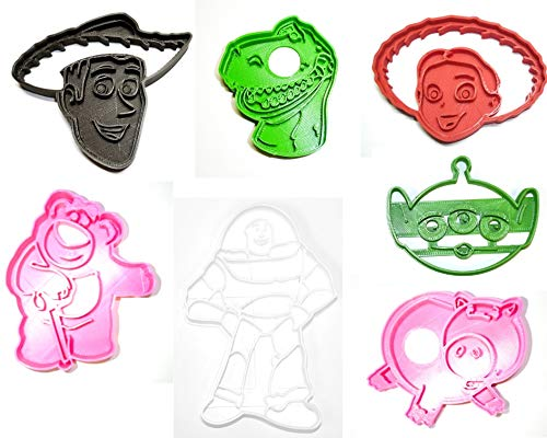 TOY STORY PIXAR CHARACTERS BUZZ WOODY JESSIE REX HAMM LOTSO LGM SET OF 7 SPECIAL OCCASION COOKIE CUTTERS BAKING TOOL 3D PRINTED MADE IN USA PR1003