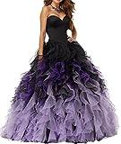 DianSheng Sweetheart Pretty Ball Gown Quinceanera Dress Ruffle Prom Dresses Purple us10