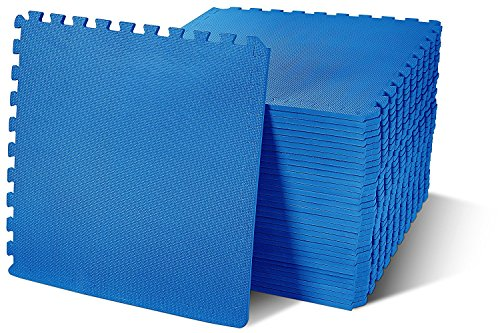 (BalanceFrom Puzzle Exercise Mat with EVA Foam Interlocking Tiles, Blue, 144 sq. ft.(Pack of 36))