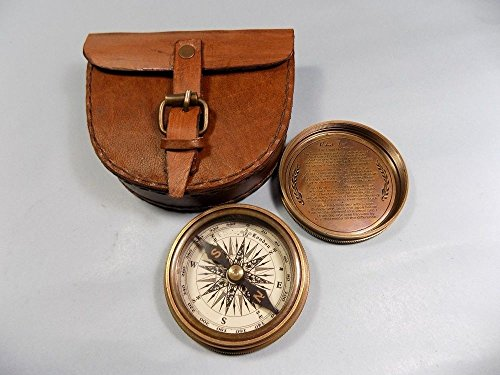 (Authentic Vintage Style Brass Pocket Compass with Leather Case)